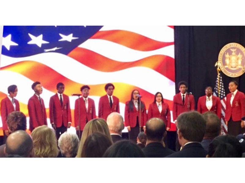 Chorale Performs National Anthem at Gov. Cuomo's Address